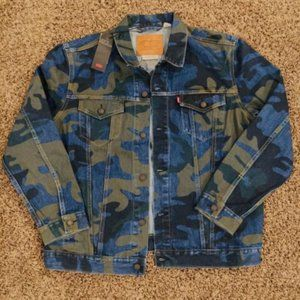 LEVI'S Blue CAMO JEAN Trucker Jacket M, L, XL